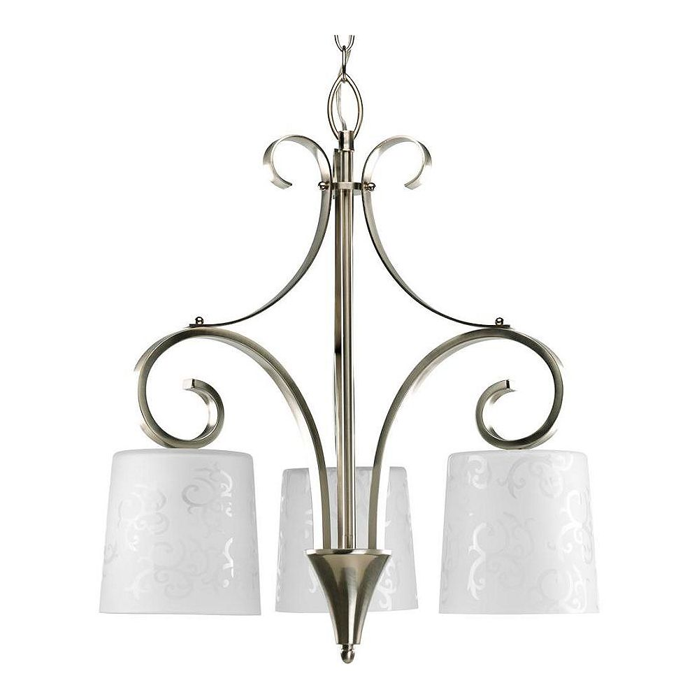 Progress Lighting Nicollette Collection Brushed Nickel 3-light Chandelier
