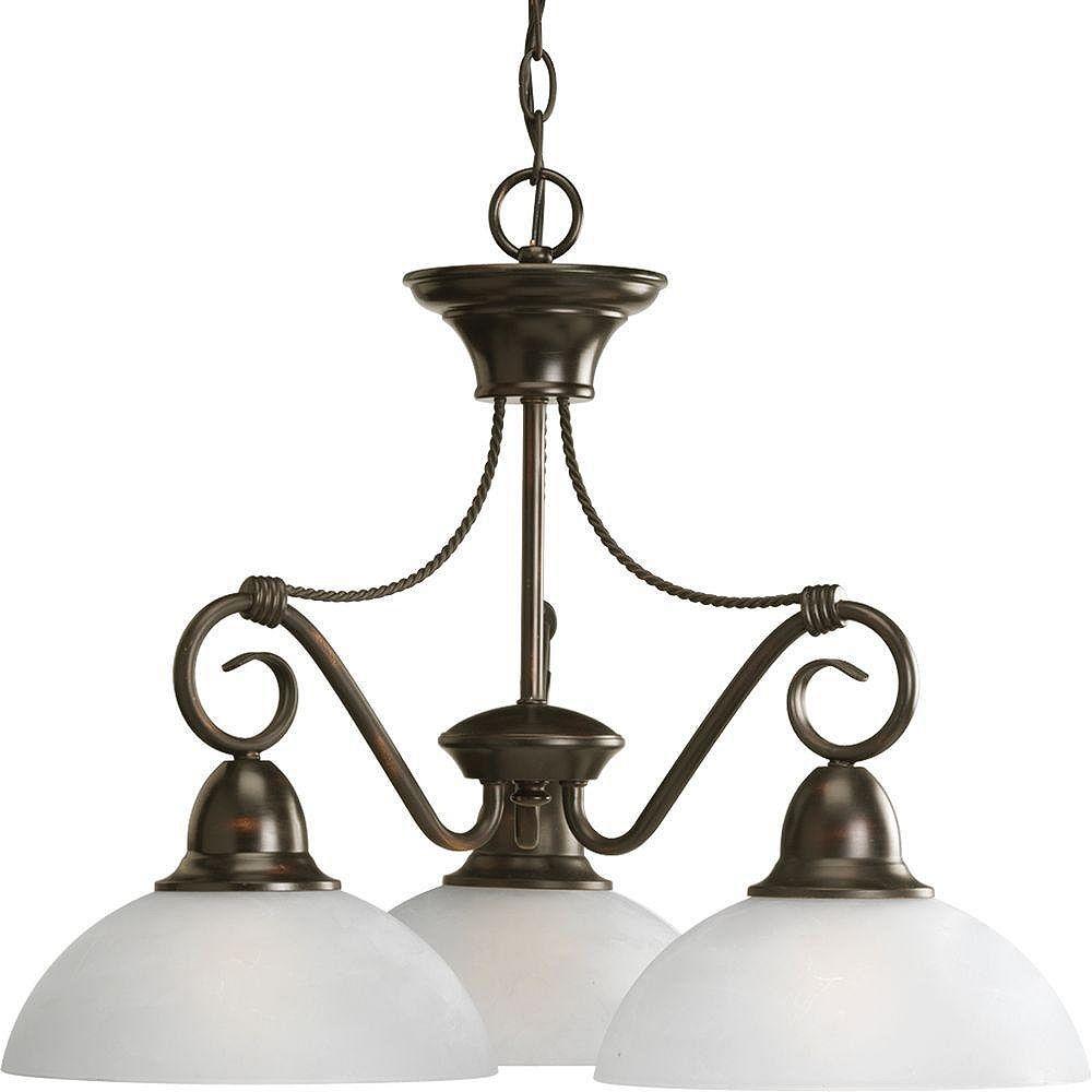 Progress Lighting Lustre à 3 Lumières, Collection Pavilion - fini Bronze à l'Ancienne