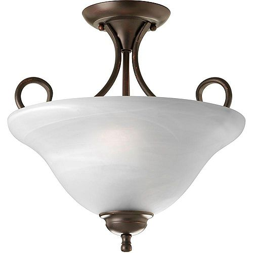 Progress Lighting Semi-plafonnier à 2 Lumières - fini Bronze à l'Ancienne