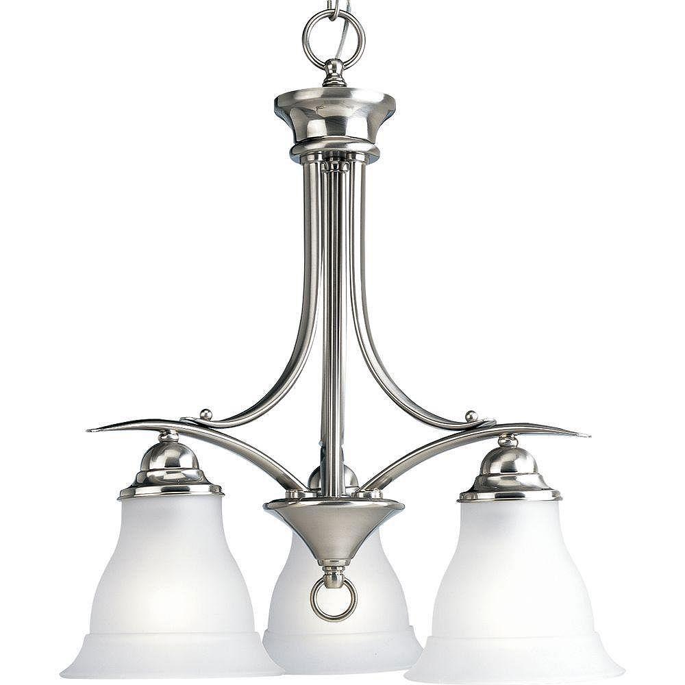 Progress Lighting Lustre à 3 Lumières, Collection Trinity - fini Nickel Brossé