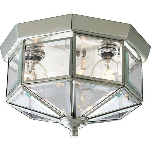Progress Lighting 3-light Flush mount Fixture in Brushed Nickel