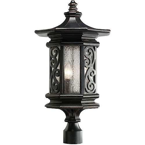 Pagoda Espresso Outdoor Post Lantern with Clear Ice Glass