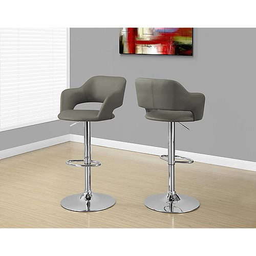Metal Chrome Low Back Bar Stool with Grey Faux Leather Seat