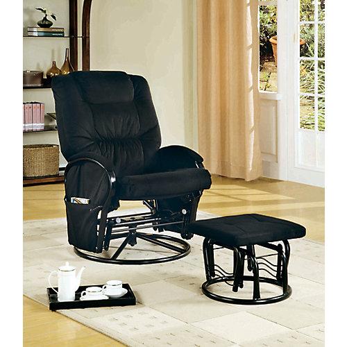 Chaise Bercante Inclinable Pivotante & Pouf Noir