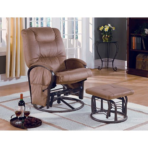 Faux Leather Rocking Chair in Beige