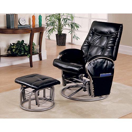Chaise Bercante Inclinable Pivotante & Pouf Noir / Argent