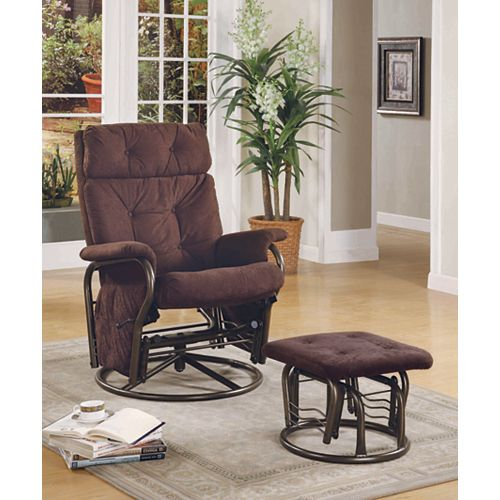 Brown Velvet Metal Glider Rocker & Ottoman