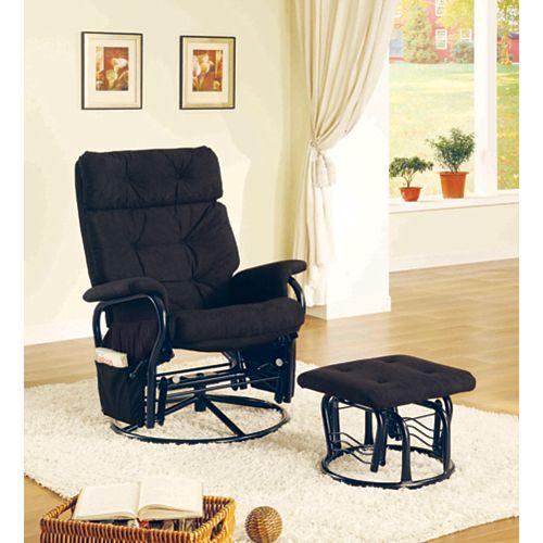 Chaise Bercante Inclinable Pivotante & Pouf Velours Noir