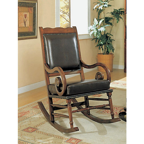 Chaise Bercante Traditionel Cuir Bicast Brun Fonce