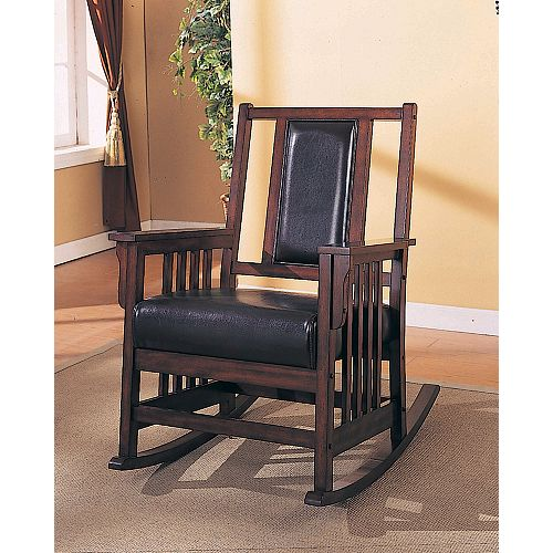Dark Oak Rocker With Leather Seat And Back