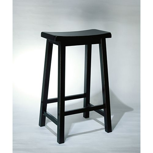 Solid Wood Black Contemporary Backless Armless Bar Stool with Black Solid Wood Seat