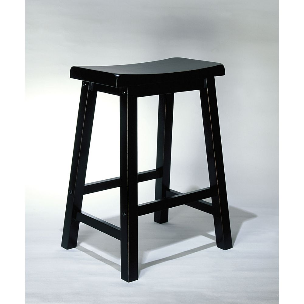 Powell Solid Wood Black Contemporary Backless Armless Bar Stool with Black Solid Wood Seat