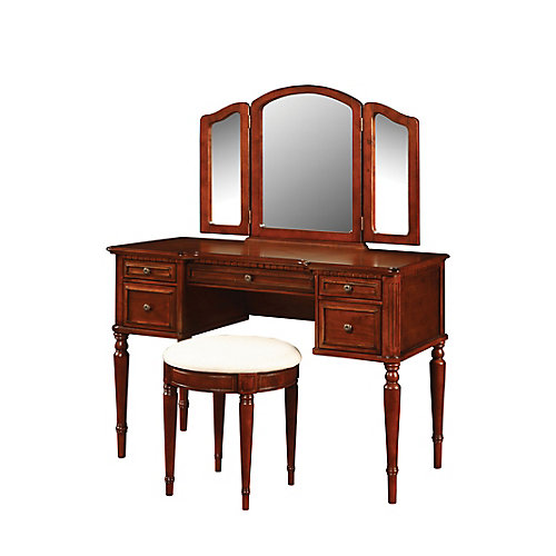 Warm Cherry Vanity - With Mirror And Stool