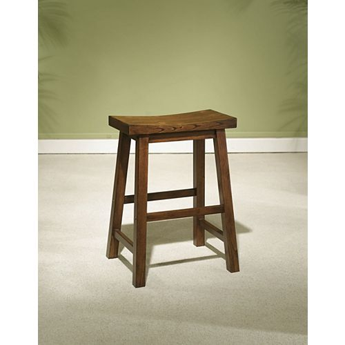 Honey Solid Wood Brown Contemporary Backless Armless Bar Stool with Brown Solid Wood Seat
