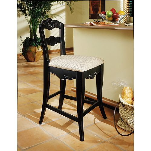 Hills of Provence Solid Wood Beige Contemporary Low Back Armless Bar Stool with Beige Fabric Seat