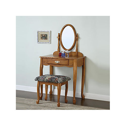 Nostalgic Oak Vanity, Mirror and Bench
