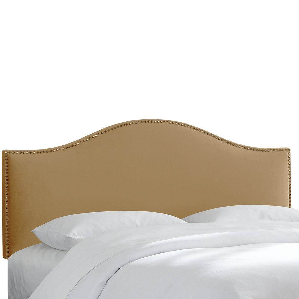 Skyline Furniture Tête de lit capitonnée taille Queen de couleur tan en microsuède