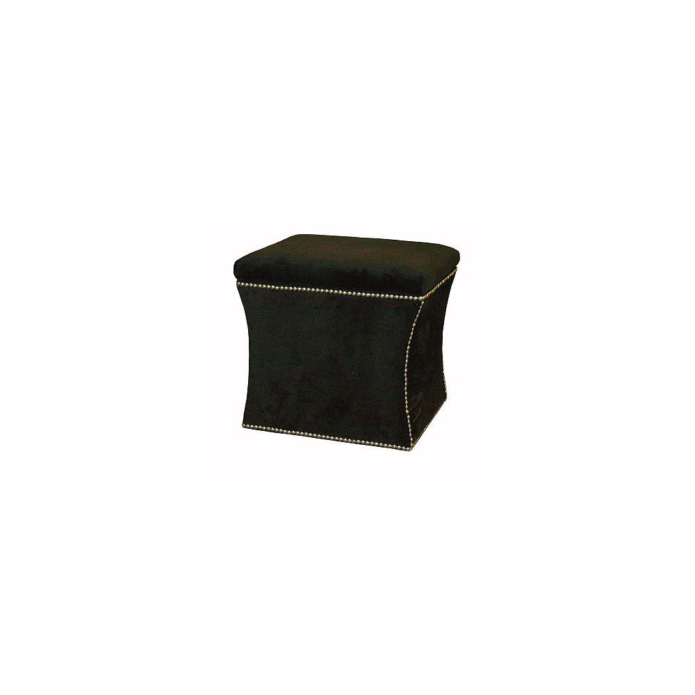 Skyline Furniture Pouf de rangement en velours de couleur noir