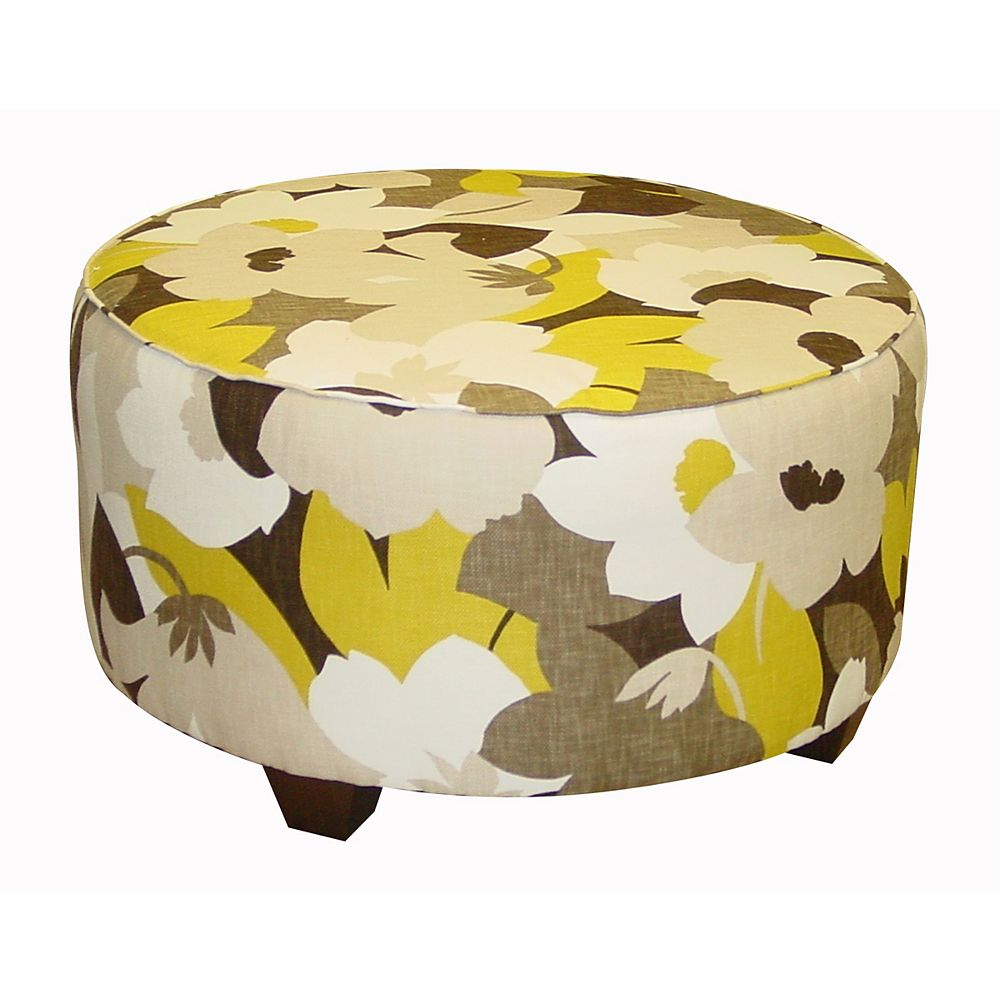 Skyline Furniture Pouf De Salon Rond À Motif Floral Multicolore
