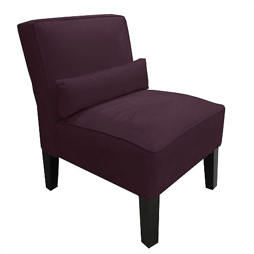 Traditional Slipper Polyester/Polyester Blend Armless Accent Chair in Purple with Solid Pattern