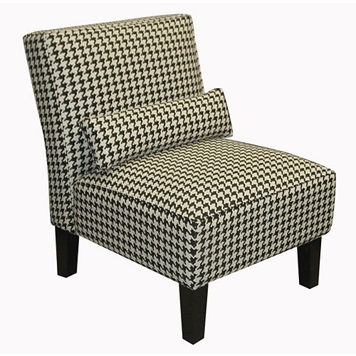 Traditional Slipper Cotton Armless Accent Chair in Black with Geometric Pattern