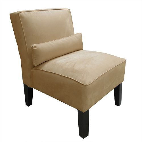 Skyline Furniture Premier Traditional Slipper Polyester Armless Accent Chair in Beige with Solid Pattern