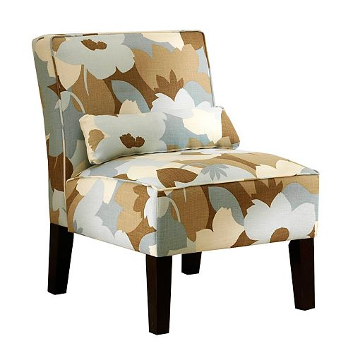 Traditional Slipper Polyester/Polyester Blend Accent Chair with Floral Pattern