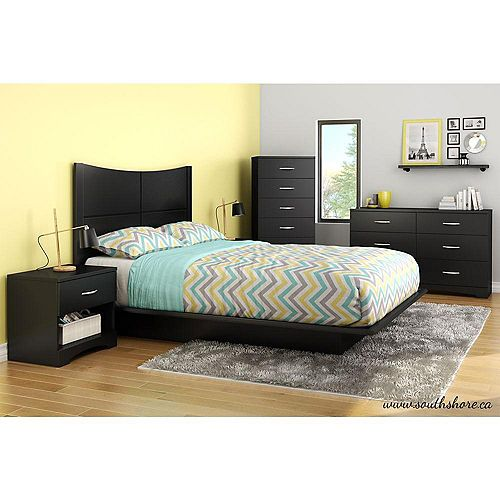 Double Platform Bed with Moulding in Black