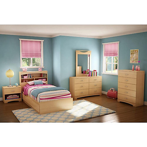 Popular Twin Mates Bed (39 inch) with 3 Drawers, Natural Maple