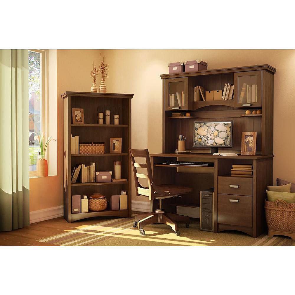 South Shore 32-inch x 58-inch x 13-inch 4-Shelf Manufactured Wood Bookcase in Brown