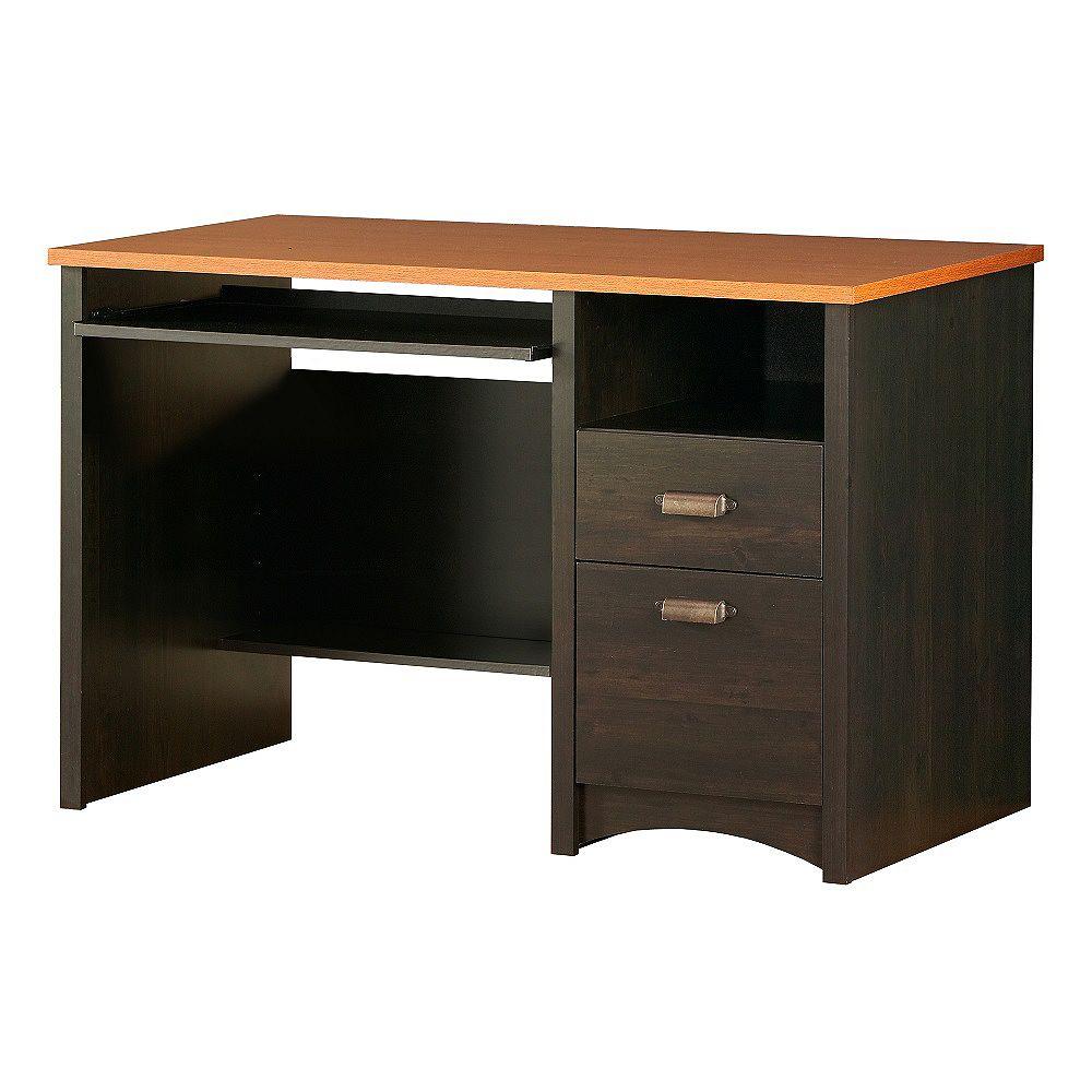 South Shore Gascony 48-inch L Small Desk with Storage in Ebony & Spice
