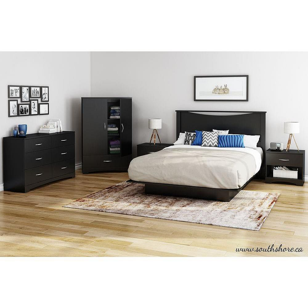 South Shore 60-inch Platform Bed and Moulding in Black
