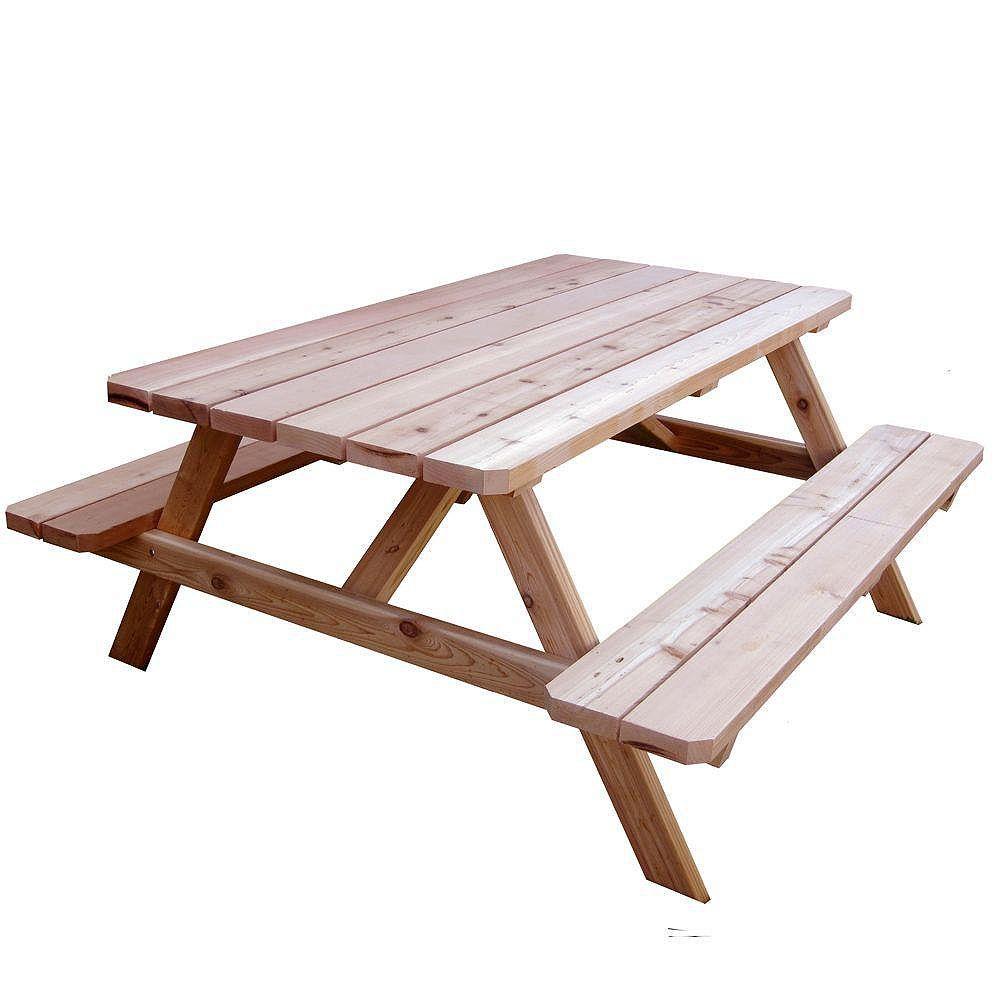 Table de pique-nique en cèdre - 9 pieds x 9 pieds