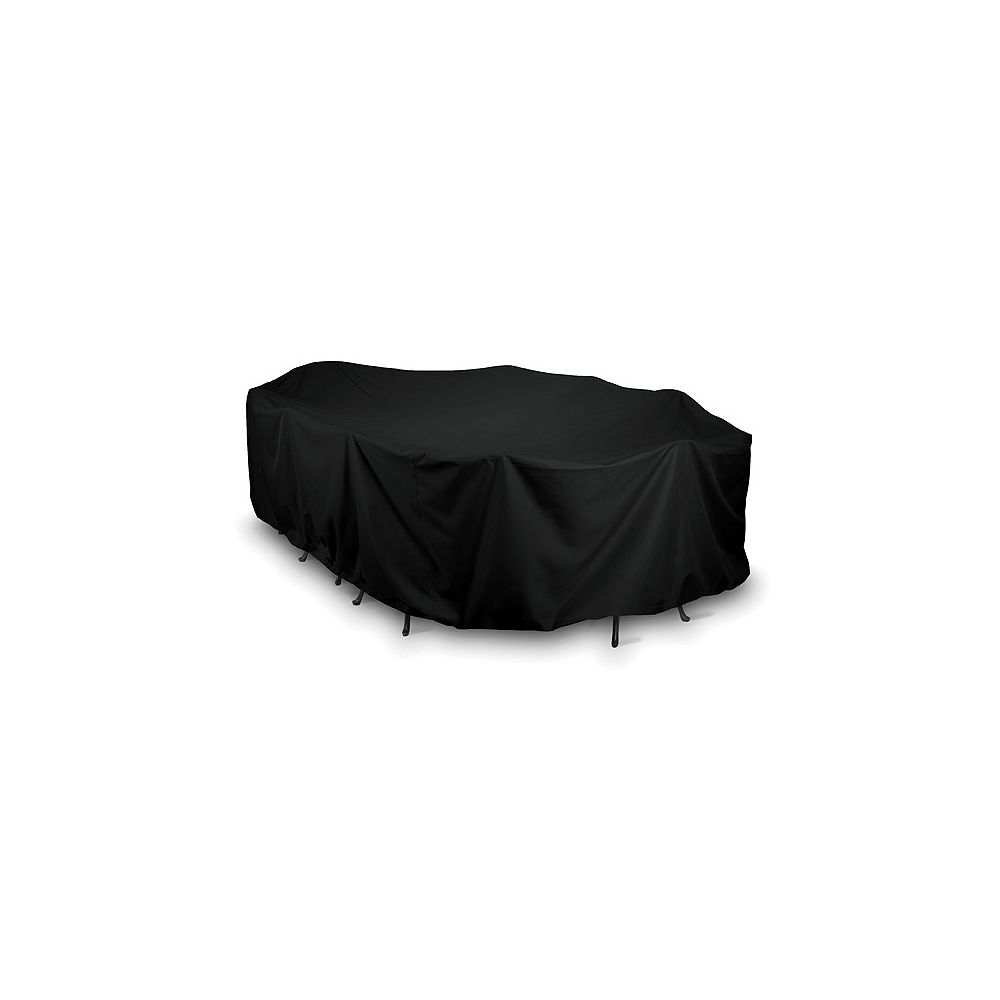 WeatherReady 144-inch Oval/Rectangular Outdoor Table Cover in Black