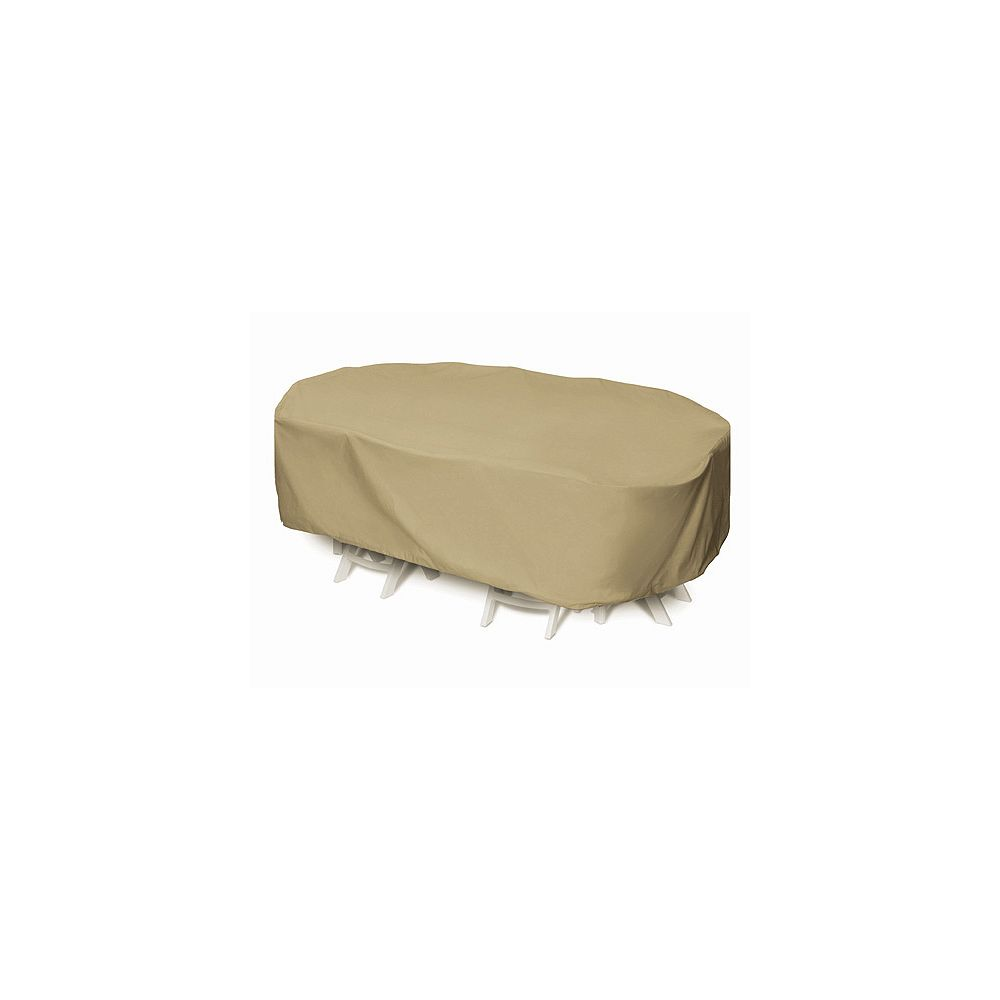 WeatherReady 92-inch Oval/Rectangular Outdoor Table Cover in Khaki