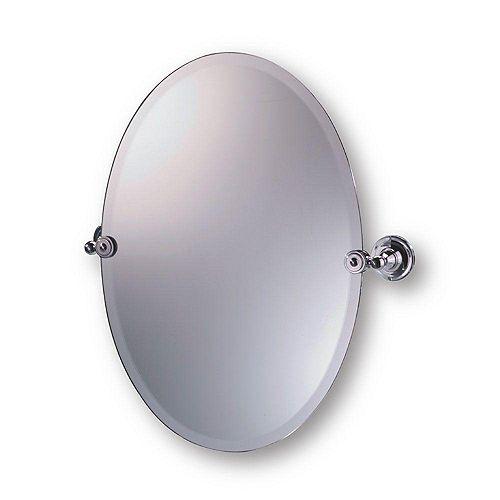 Diviana Miroir Ovale à Pivot, Chrome - 20 po X 24 po