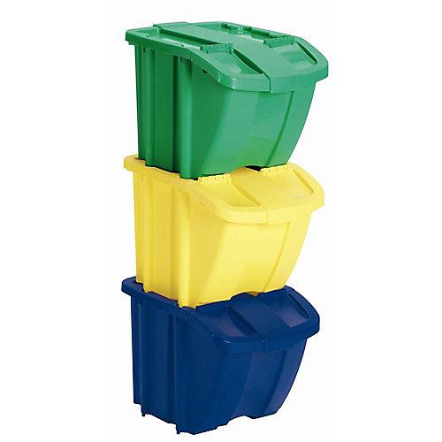 Jeu de 3 bacs de rangement  – jaune, bleu, vert