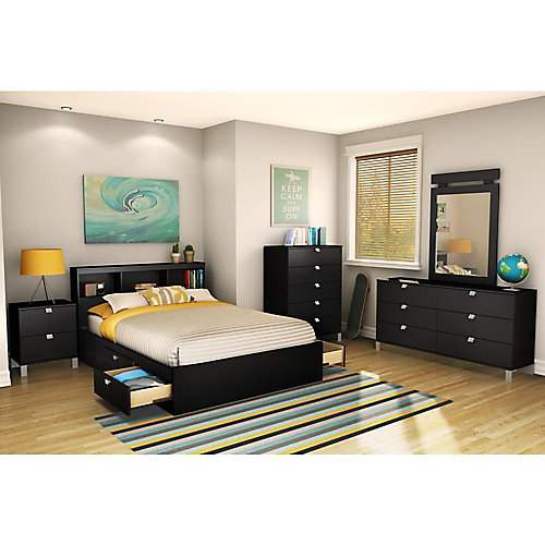 Spectra  Full Bookcase Headboard Solid Black