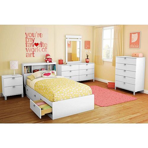 Spark Twin Mates Bed (39 inch) with 3 Drawers, Pure White