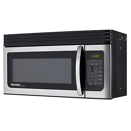 Stainless Steel and Black Over-the-Range Microwave Oven  1.6 Cubic Feet