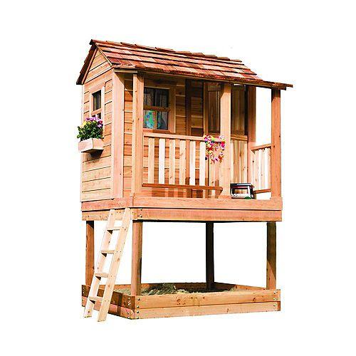 Maisonnette avec carré de sable, 6 pi x 6 pi, cèdre