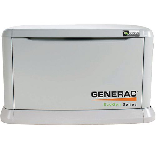 Eco Gen 6kW LP Air-Cooled Standby Generator, Steel Enclosure