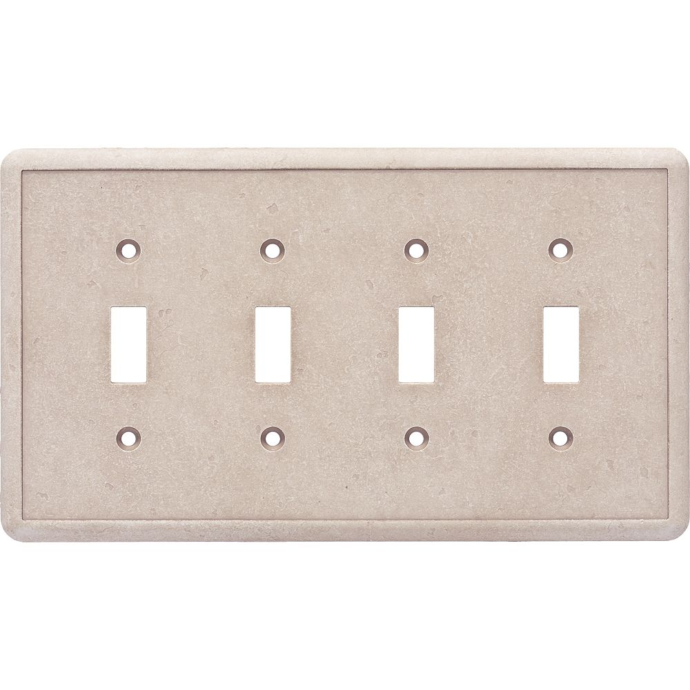 Weybridge Quad Toggle Travertine Cast Stone Wallplate