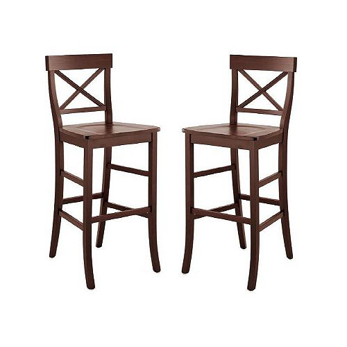 Set of 2 Dark Brown Bar Stools with Wood Seat - Made in Italy