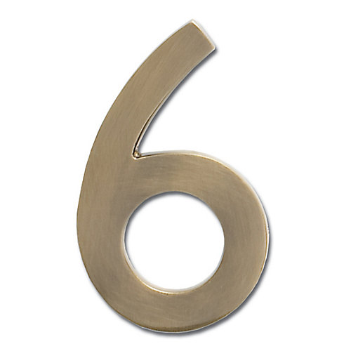 "Solid Cast Brass 4 inch Floating House Number Antique Brass ""6"""