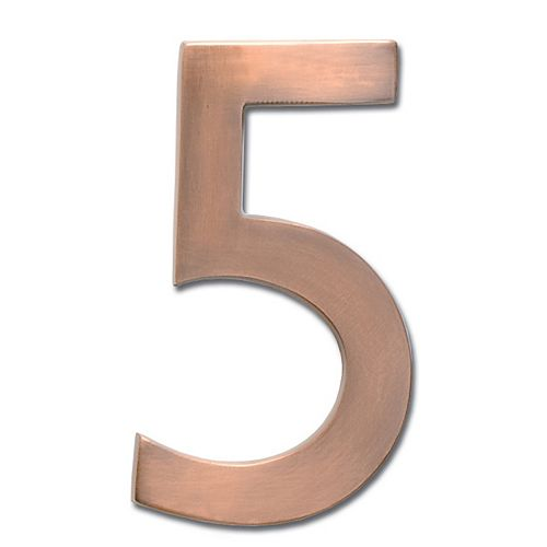 "Architectural Mailboxes Solid Cast Brass 4 inch Floating House Number Antique Copper ""5"""
