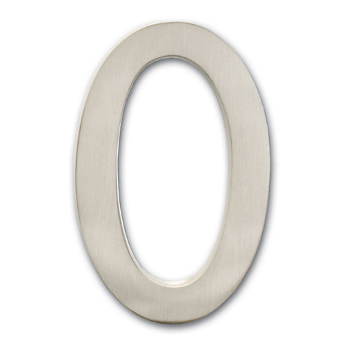 "Solid Cast Brass 4 inch Floating House Number Satin Nickel ""0"""