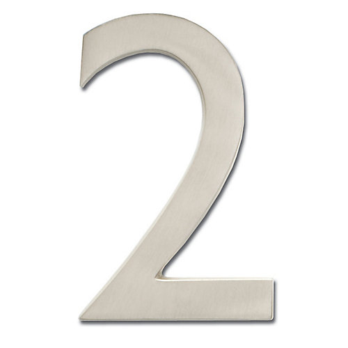 "Solid Cast Brass 4 inch Floating House Number Satin Nickel ""2"""
