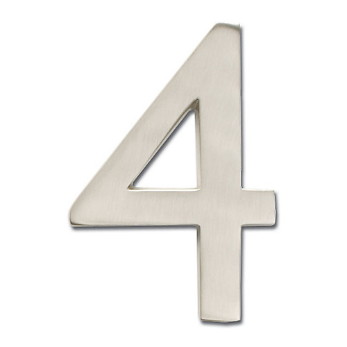 "Solid Cast Brass 4 inch Floating House Number Satin Nickel ""4"""
