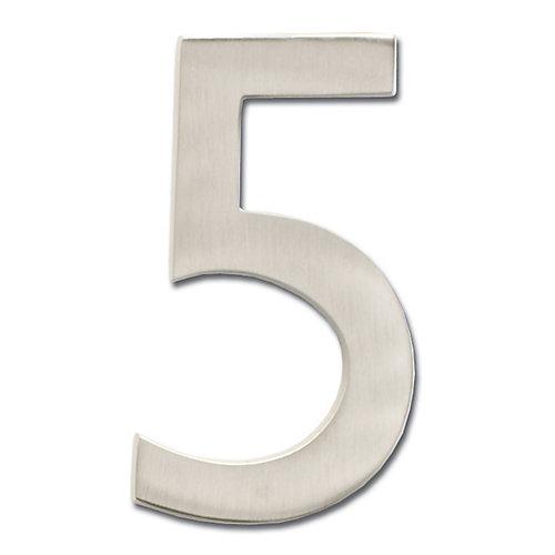 Chiffre de numéro de maison flottant, 4 pouces, en laiton fondu massif à fini nickel satin, «5»